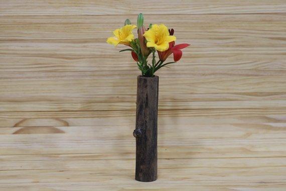 Unique Wooden Flower Vase   Hand Crafted Bud Vase   Decorative Vase   Wooden Bud Vase