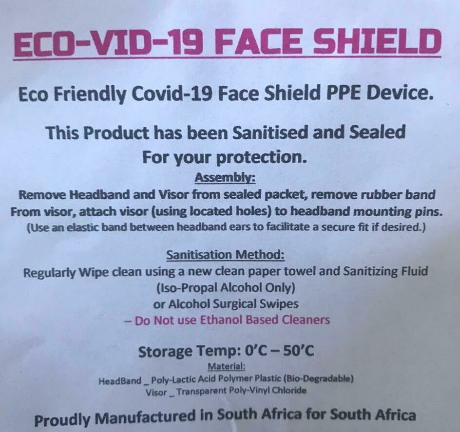 ECO-VID-19 FACE SHIELD