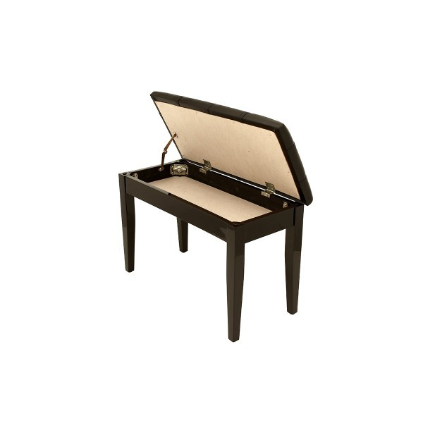 Dolce - Piano Stool with Music Book Storage - Polished Ebony
