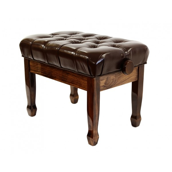 Cadenza - Real Leather Adjustable Piano Stool - Polished Walnut 00046