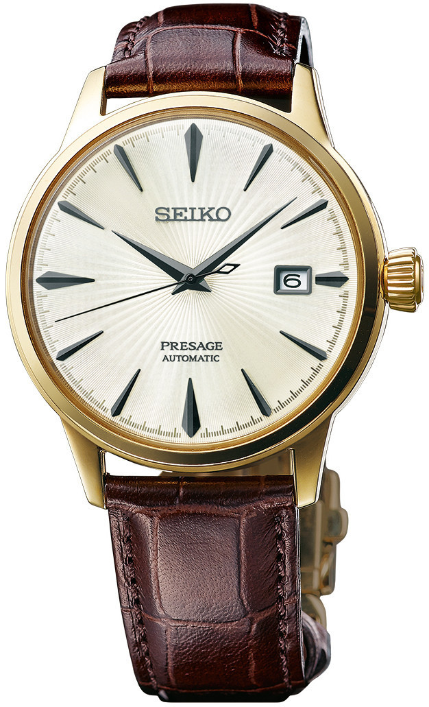 Seiko Presage Automatic - Cocktail Time Gold Tone with Brown Leather SRPB44