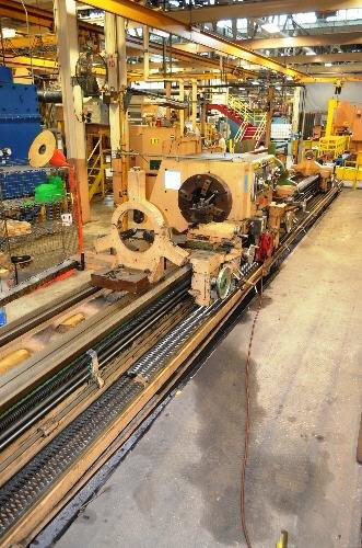 "1 – USED 32"" X 252/120"" (21'/10') LODGE & SHIPLEY ""SUPERTURN   3220W"" DUAL SIDE HOLLOW SPINDLE ENGINE/BORING LATHE"