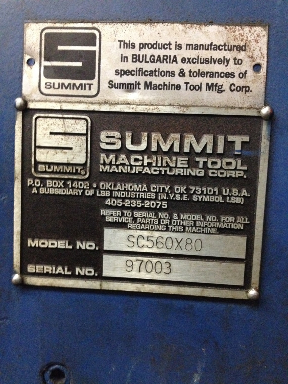 "1 – USED 22"" X 80"" SUMMIT CNC & MANUAL LATHE"