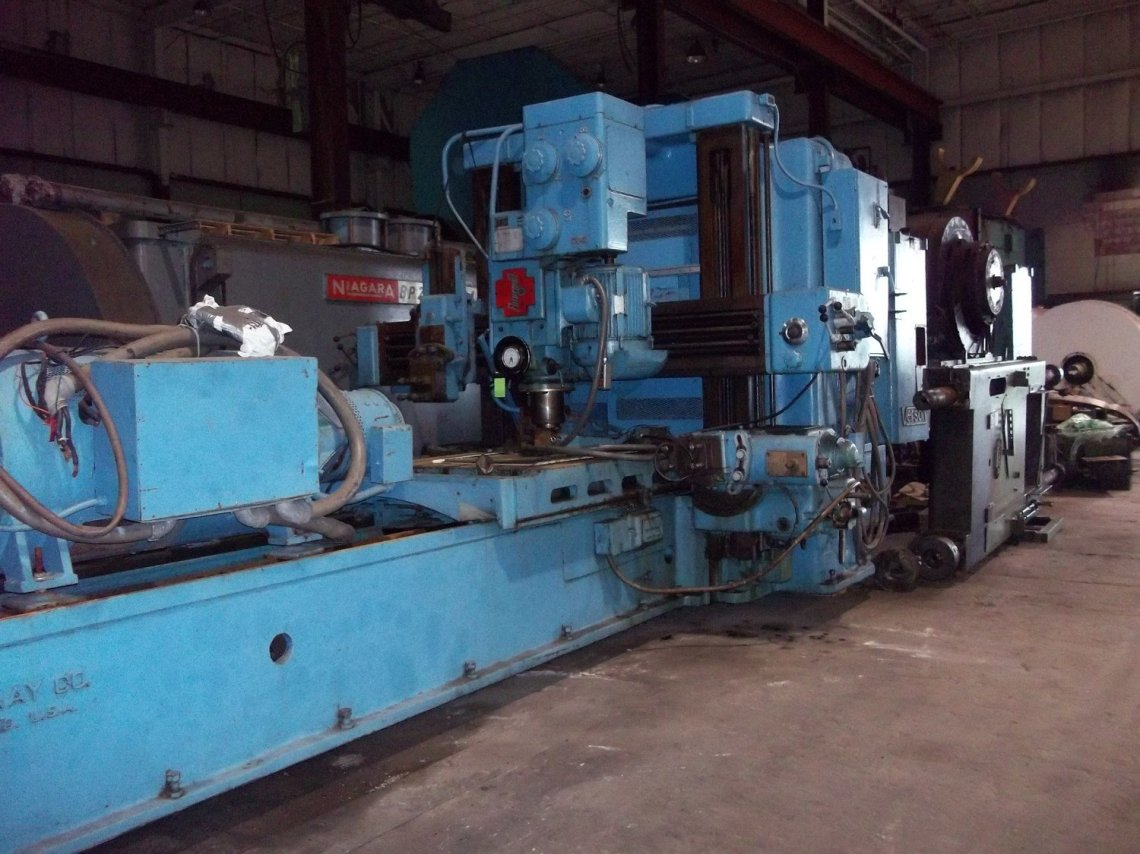 """1 – USED 48"""" X 42"""" X 12' GRAY DOUBLE HOUSING PLANER MILL & PLANER"""