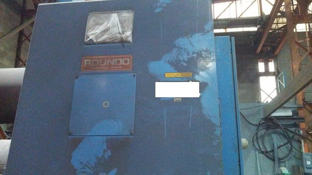 """1 – USED 96"""" X 2"""" ROUNDO PS500 3-ROLL HYDRAULIC PLATE ROLL"""