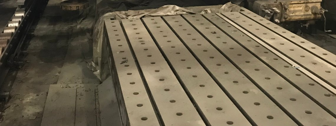 "​1 – USED 68"" X 30' CAST IRON T-SLOTTED FLOOR PLATE"