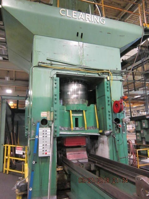 1 – USED 2,000 TON CLEARING HYDRAULIC PRESS