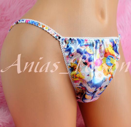 Ania's Poison Little Bear POOH Pig Donkey Print Super Rare 100% polyester SATIN string bikini sissy mens underwear panties