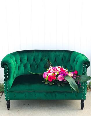 Jane- Emerald Green Velvet Settee