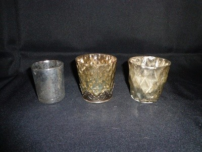 Votive Holder-Mercury Glass with Silver Rim and Bottom