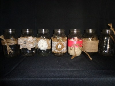 Mason Jar with Burlap - 32 oz - with White Flower