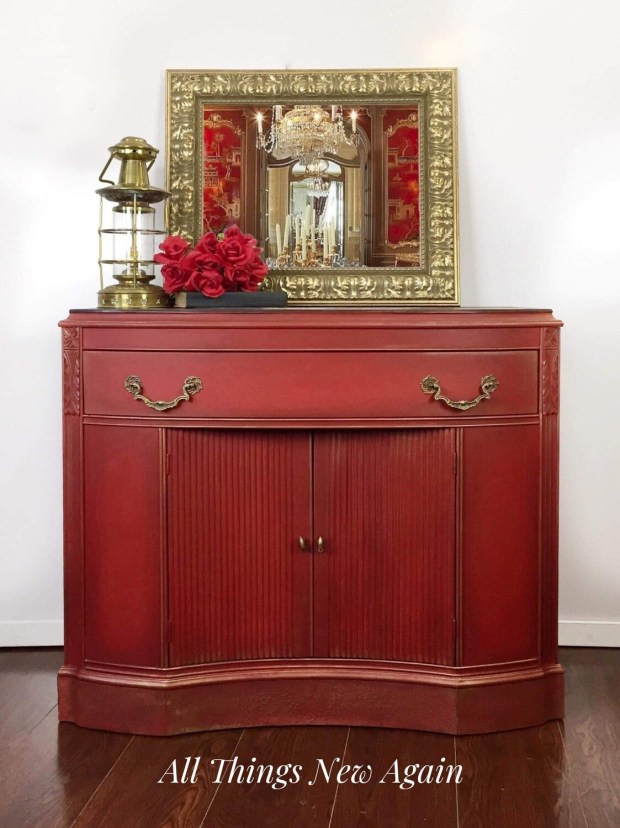 Furniture: Small Red Buffet/Sideboard/Server