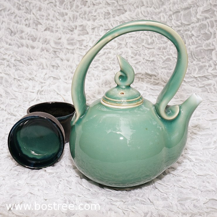 2) Celedon teapot by Andy Boswell. Porcelain.