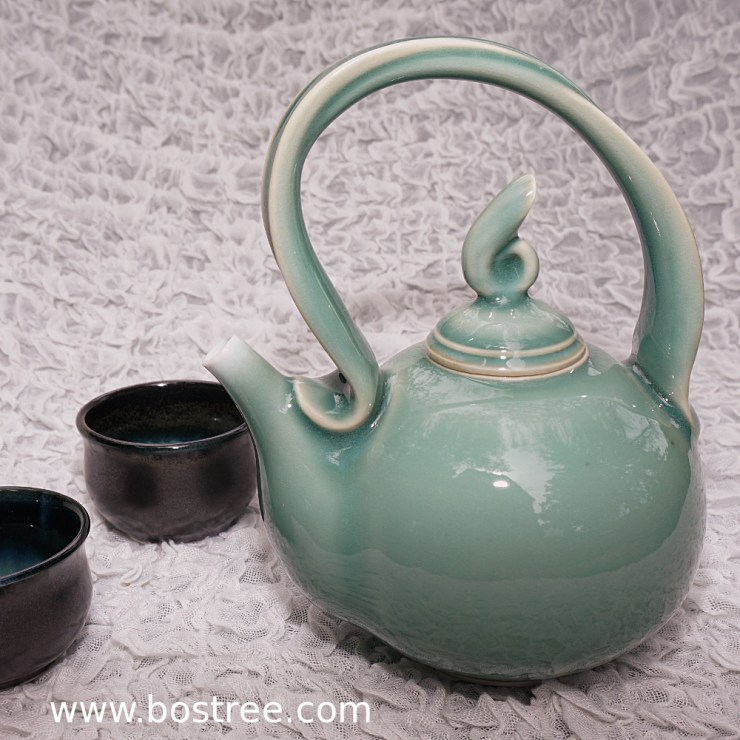 1) Celedon teapot by Andy Boswell. Porcelain.
