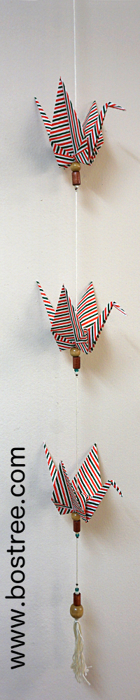 Three Crane Origami Mobile - Green, Red, and White Striped