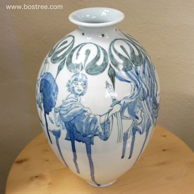 Lady, Tiger, and Fighter Illustrated Vase by Andrew Boswell