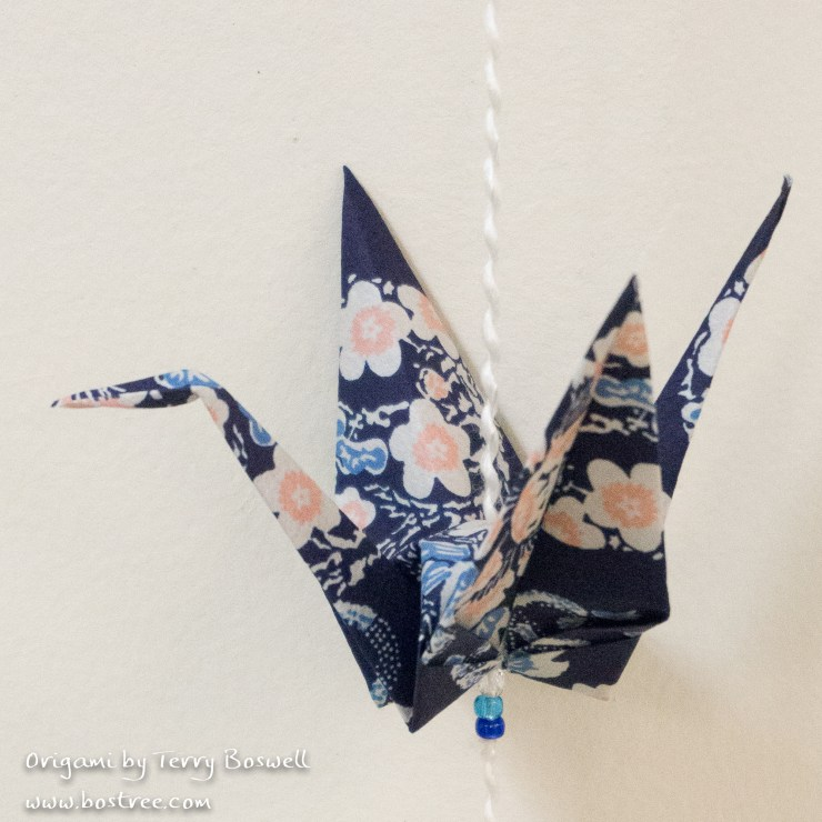 Three Crane Origami Mobile - Blue, Pink