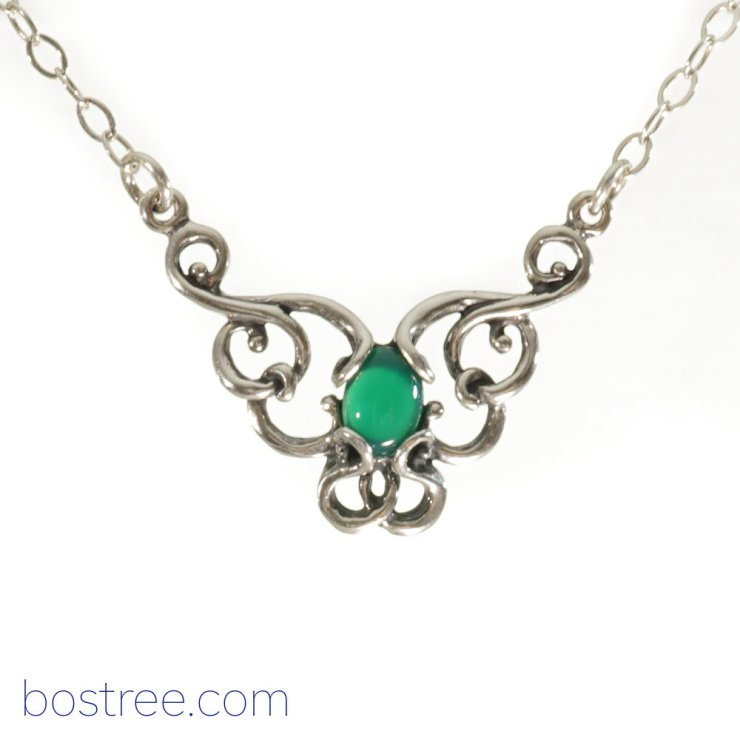 Victorian Necklace - Sterling Silver & Green Aventurine