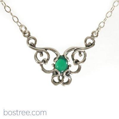 Victorian Necklace - Sterling Silver & Green Aventurine