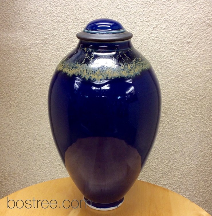Lidded Vessel - Deep Blue, Gold, by Andrew Boswell