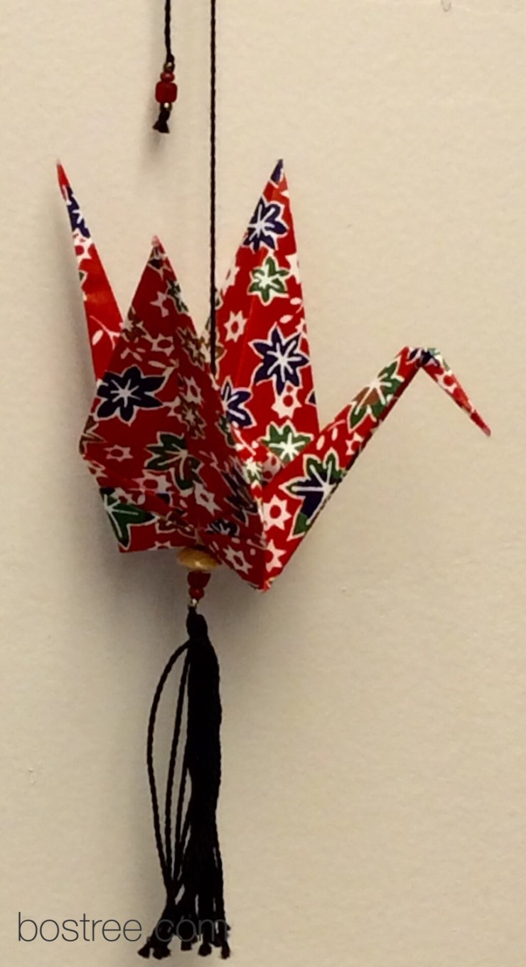 Origami Ornament for Car or Christmas Tree - Green, Yellow, Red, Black