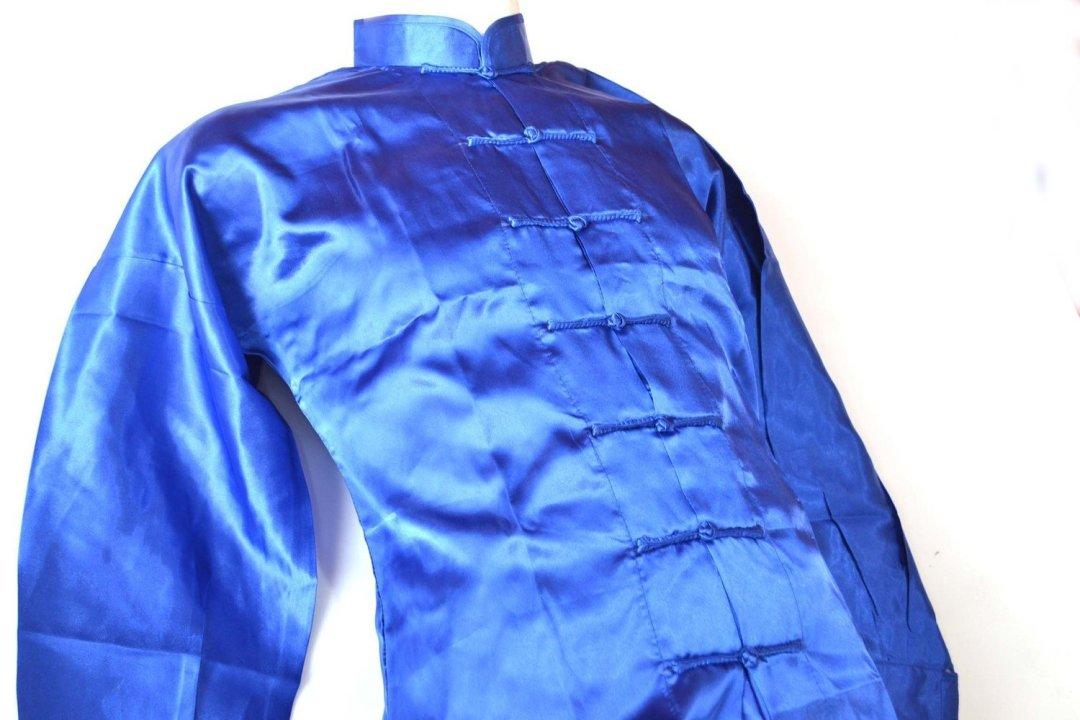 Uniforme Wushu y Tai ji Quan  azul fabricado en poliseda