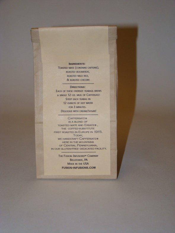 Caffersatz®-Pkg. of 10 teabags, back of pkg.