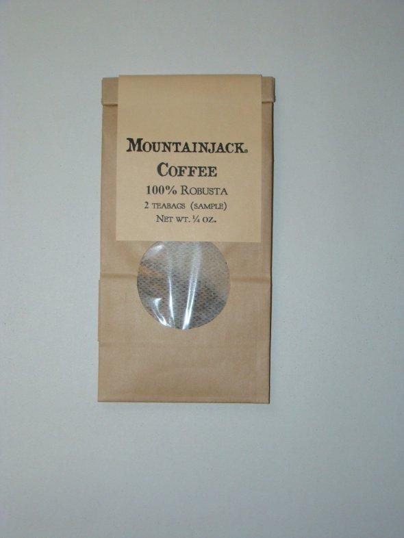 Mountainjack® Coffee---2-teabag sample pkg., showing front of pkg.