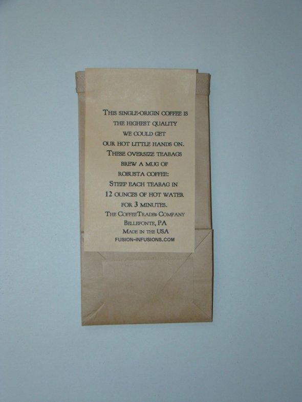 Mountainjack® Coffee---2-teabag sample pkg., showing back of pkg.