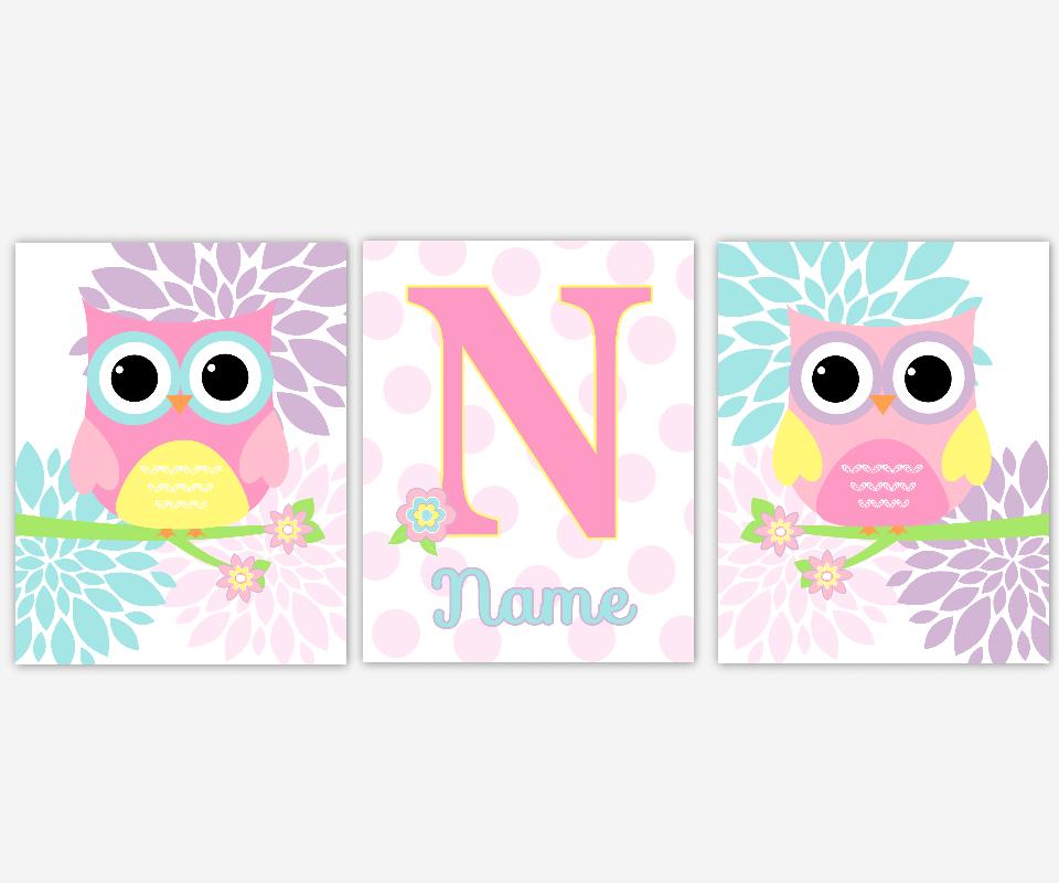 Owl Baby Girl Nursery Wall Art Pink Aqua Lavender Purple Teal Yellow Personalized Name Art Owl Baby Nursery Wall Decor Baby Nursery Decor Girl Room
