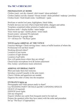 Wedding MCs Checklist part 1
