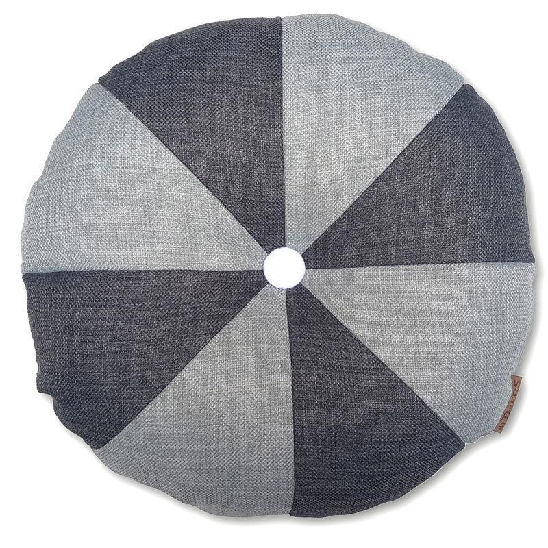 Rund pude med knap, lys grå/grå - LAGERSALG 9009
