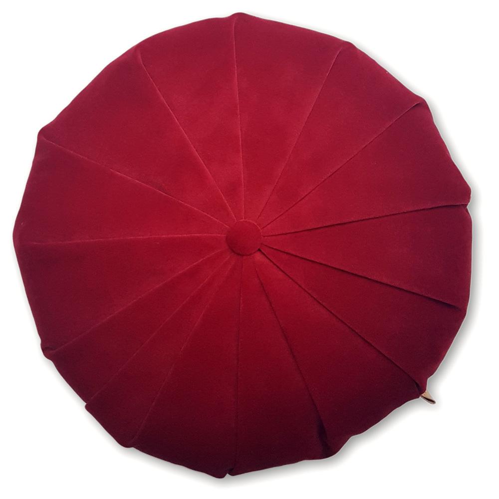 Rund velour pude - Rød 4203