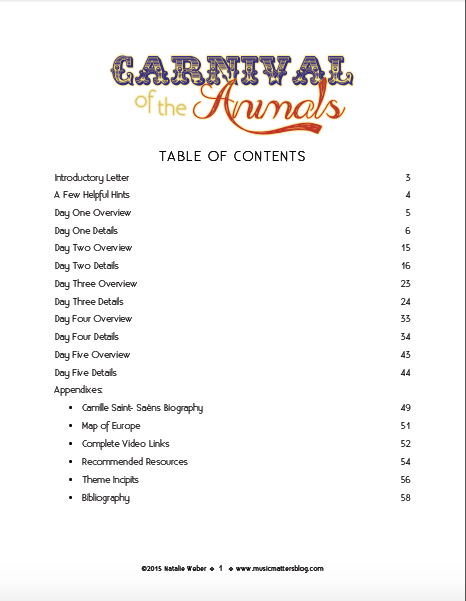 Table of Contents for the Carnival of the Animals Music Camp Teacher Curriculum