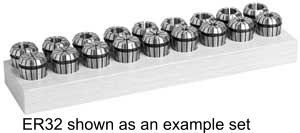 """Techniks Ultra Precision ER-25 16 Piece Collet Set - Inch Set 5/32"""" - 5/8"""" in 32nds UP04211IS"""