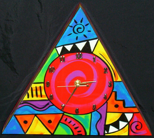 Abstract Triangle clock (Red)
