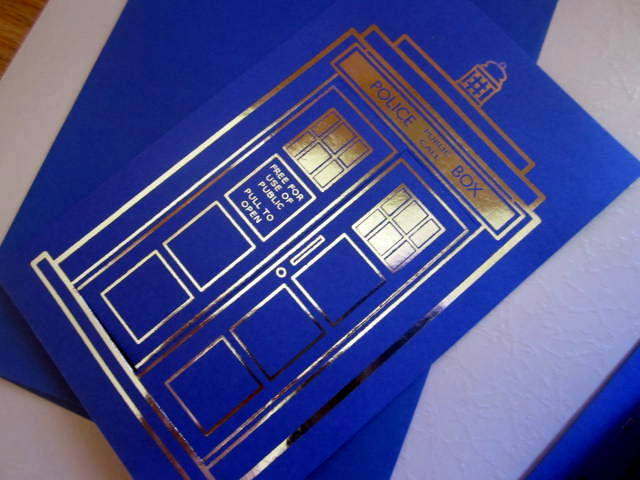Blue Police Box Notecard silver-foiled elf1012