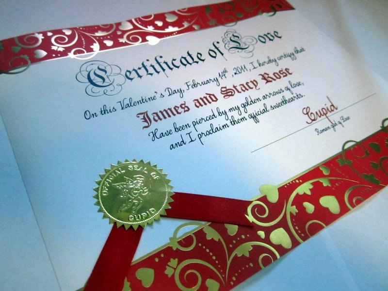 Valentine Love Certificate elf1085