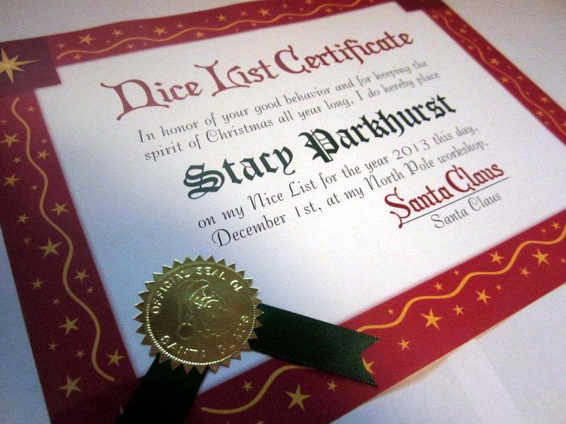 Santa Claus Nice List Certificate elf1067