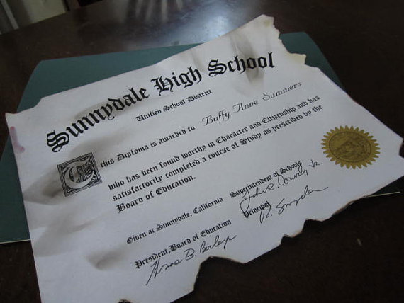 Scorched Buffy Diploma