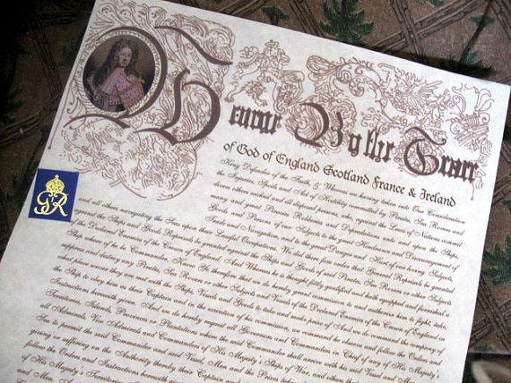 Large Letter of Marque (script font)