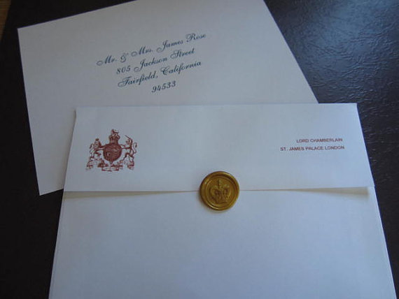 Charles & Diana invitation envelope front and back