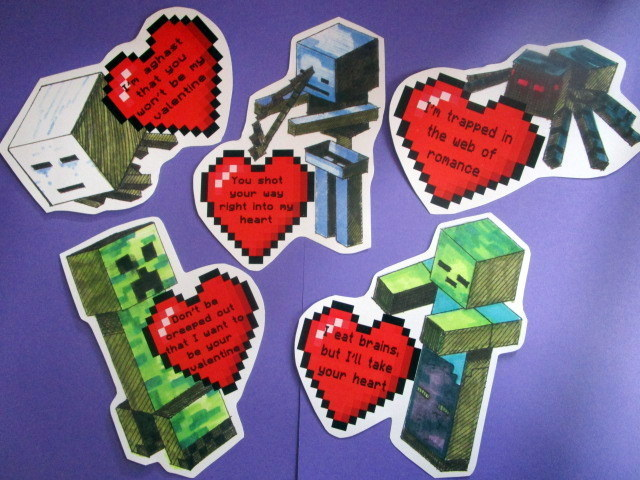 Valentines (set of 6) Building Block Video Game 00056
