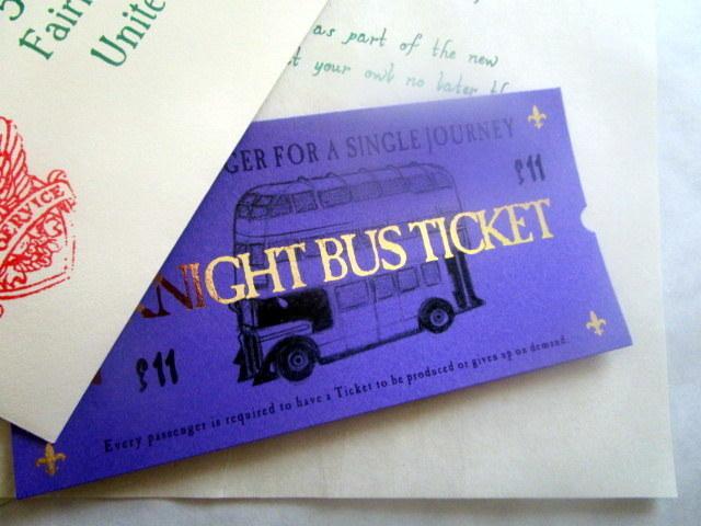 *Purple Wizarding Bus Ticket elf1044