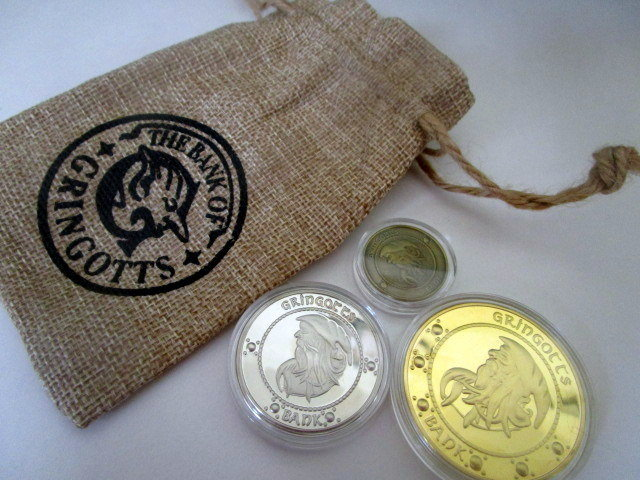 Wizarding Coin Set in burlap pouch