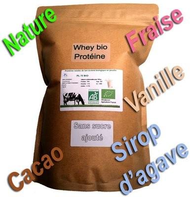 Par 1 kg  Proteine Lait Native bio (Nature ou avec arôme bio)