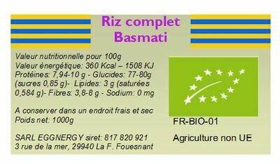 riz basmati complet 25 kg