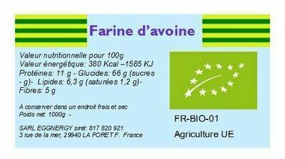 Farine d'avoine bio ultra-fine 25Kg