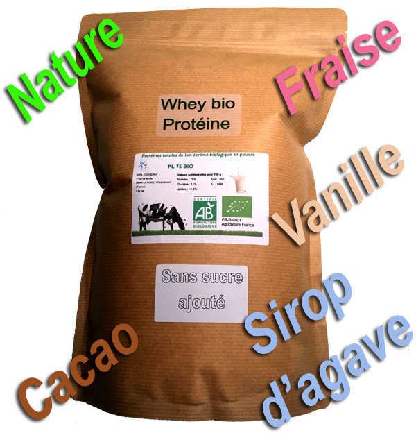 Par 1 kg  Proteine Lait Native bio (Nature ou avec arôme bio) 00438