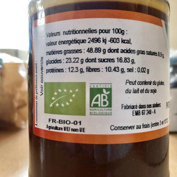BIO: Pâte à tartiner aux noisettes (50%) et au chocolat: 350 g